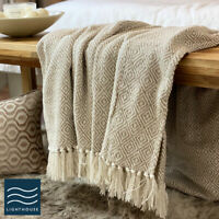Eco Friendly Pure Cotton Abstract Checked Neutral Linen Large Sofa Throw Fringed