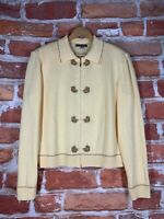 $600 St John Sport Marie Gray L Yellow Gold Wool Blend Zip Knit Cardigan Sweater