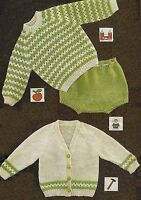 """Babies Sweater, Cardigan and Knickers Knitting Pattern in DK 20-22"""" 742"""