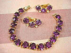 Vintage Dark Amethyst Purple Rhinestones Gold Tone Bracelet & Clip Earrings SET