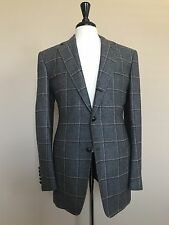 TOM FORD Wool Silk Windowpane Tweed Country Suit Slim Italian size 54 Base D