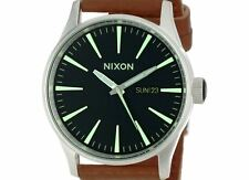 PRE-OWNED $125 Nixon Mens Sentry Black Saddle Classic Dress Watch A105-1037