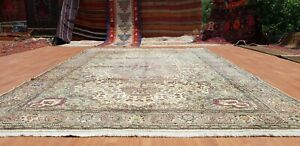 Exquisite 1930-1939s Antique Wool Pile Olive Green Legendary Hereke Rug 7x10ft