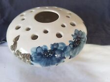 Jersey Pottery Blues & Greys on White Posy Frog Bowl 16 Hole & Large Center Hole