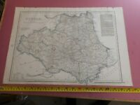 100% ORIGINAL LARGE COUNTY DURHAM  MAP BY CASSELL C1863 HAND COLOUR RAILWAYS