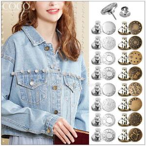 16pcs Unisex Jeans Button Retractable Adjustable Removable Metal Button Round AU