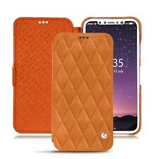 Case NOREVE Leather Wallet Nubuck Suede for Apple IPhone X - Mandarine
