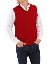 MAERZ Herren Pullunder V-Ausschnitt Wolle (Merinowolle) 460000-440 rot uni