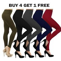 Women's One Size Fleece Lined Leggings Thick Solid Pants Warm Winter S.M.L New