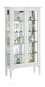 Showcase 11177 With 2 Door Glass, White, Solid Wood 89x34x170H