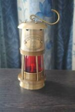 """6"""" Antique Vintage Style Brass Nautical Miner Ship Lantern Oil Lamp Red Glass"""