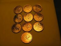 Set Of 10 Canada BU Pennies 1990 To 1999 Mint Set.