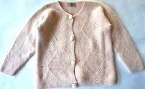 vintage Lautreamont hand knit pink winter cardigan sweater women size fits Large