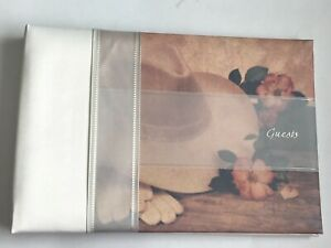 Western Wedding Guest Book, Pastel and Ivory Cowboy Hat and Roses