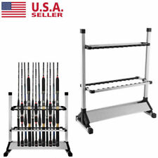 Aluminum Alloy Portable 24 Rods Rack Fishing Rod Pole Holder Stand Storage Tool