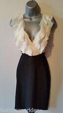 BNWT New LIPSY Black White Cream Contrast Pencil Wiggle Frill Front Dress 12 £60