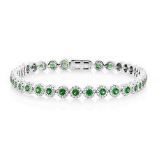Womens 3.19 TCW 14K White Gold Green Tsavorite Garnet Diamond Tennis Bracelet