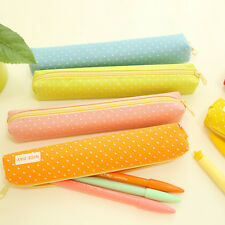Girls Cute Polka Dot Pencil Case Pen Bag Purse Cosmetic Makeup Pouch Bag HOT.