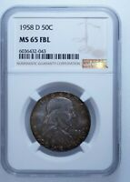 1958 D 50C Franklin PCGS Graded MS65 FBL 90% Silver US Collectors Coin