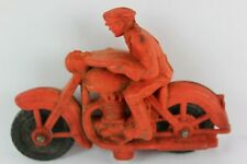Vintage 1940's AUBURN Toy Red Rubber Police Motorcycle