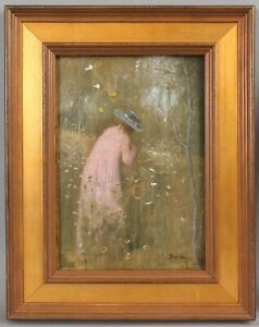 Sm PERCY IVES Impressionist Atmospheric Oil Painting Woman Garden & Butterflies