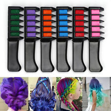 6 x Color Hair Highlight Chalk Dye Temporary Comb DIY Disposable Kit Halloween