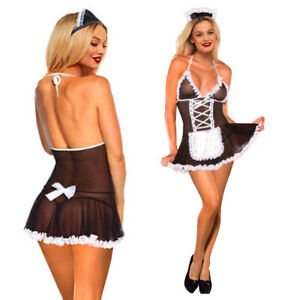French Maid Sexy Lingerie Mesh BDSM Cosplay Uniform Outfit Lace Up Dress