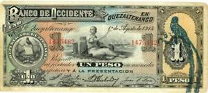 Guatemala Banco Occidente 1 Peso Currency Banknote 1914