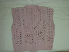 Pink sweater vest, V-neck, Women's size Medium. Hand-made. 4 button front.