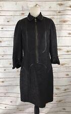 Per Se Size 8 Dress Tweed Woven Front Zip Viscose Wool Nylon Blend