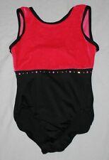 Girl Pink Black Purple Velour Danskin Freestyle Leotard Dance Size S 6/6X