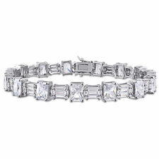 Amour Sterling Silver 71ct TGW Multi-Cut Cubic Zirconia Tennis Bracelet