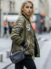 ZARA Oversized Khaki Green Satin Bomber Pins & Patched Blogger Women's Jacket M
