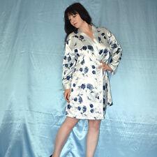 blaue Rosen am Satin MORGENMANTEL* L * Negligee* Pyjama* Hausmantel* Bademantel