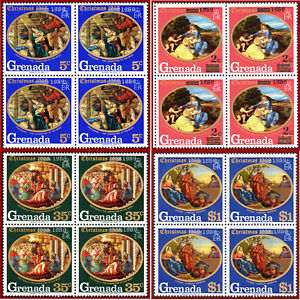 Grenada 1969 Christmas, paintings, blocks of 4st. OVERPRINTED ** MNH, SG 363-366