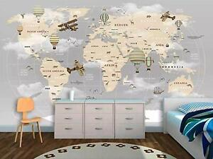 Vintage World Map Hot Air Balloon Removable Textile Wallpaper (58 Sq Ft)