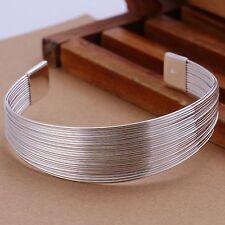 Women Fashion Jewelry 925 Silver Plated Cuff Adjustable Bracelet 13-8