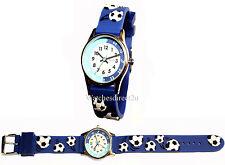 Reflex Time Teacher Kids Boys Blue 3d Silicone Football Strap Watch REFK0007