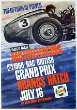 Reproduction Vintage British Grand Prix Poster, 1966, A2