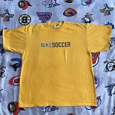 Nike Soccer Logo T-Shirt Men's Large 90s (White Tag) Yellow Brazil