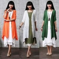 Women's Cotton Linen Loose Coat Open Cardigan Irregular Kimono Long Tops Outwear