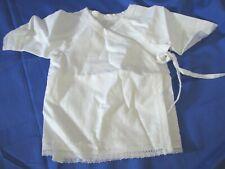 Vtg WHITE Newborn INFANT BABY Hospital? GOWN DRESS Side Ties LOOKS NEVER WORN