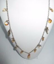 Long Multi-Color Orange Gray Crystal Necklace Stand Silver Tone Chain Shiny