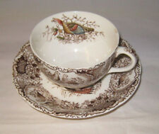 Johnson Brothers Windsor Ware Woodland Wild Turkeys Brown Cup and Saucer Chips