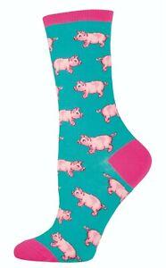 NEW Ladies Fun Novelty Socks This Little Piggy on Jade - Sock Size 9-11