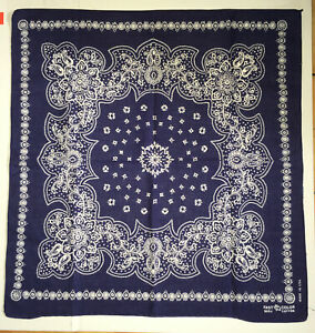Vintage Indigo Blue Fast Color Elephant Trunk Up Cotton USA Bandana Handkerchief