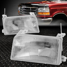 FOR 92-98 FORD F-150 F-250 F-350 BRONCO CHROME HOUSING CRYSTAL LENS HEADLIGHTS