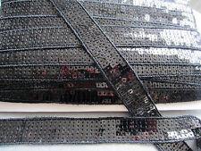 2 M Nero Quadrato Paillettes Impreziosito NASTRO TAGLIO Salwar Sari ricamo 24 mm