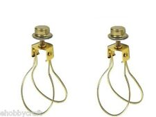 2 Clip On Bulb LampShade Holder Adapters And Finial Cap Shade Holder Knobs