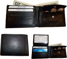 3 New Men's bi-fold Leather Wallet 7 credit card ID Change purse 2 billfold BN